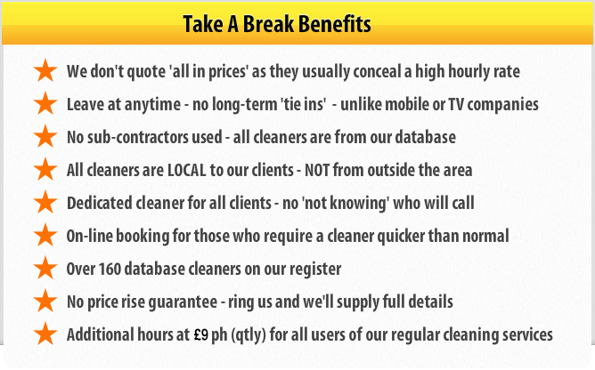 Benefits of using Take a Break House cleaning as your professional domestic cleaning service